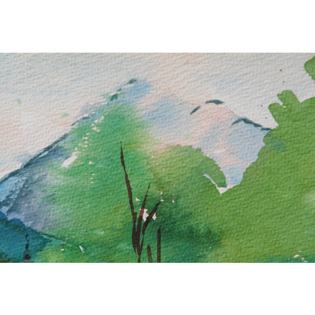Watercolor on paper canal scene with brilliant range of greens. Slight wear to corners and edges.