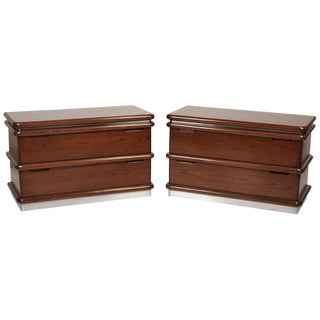 Jay Spectre Modernist Walnut and Brushed Stainless Nightstands For Sale