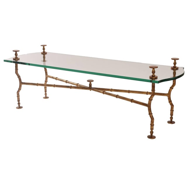 Gold Leafed Steel and Glass Sculptural Cocktail Table For Sale