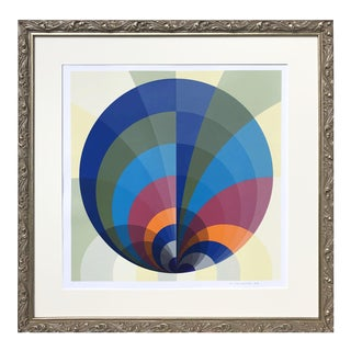Vintage Geometric Abstract Op Art Serigraph by Anton Stankowski 1970 For Sale