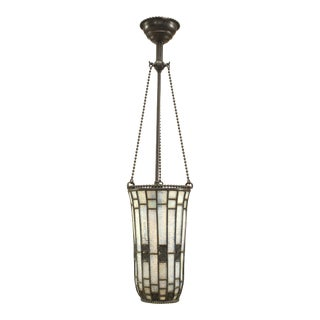 American Mission Tiffany Beaded Cone Chandelier For Sale