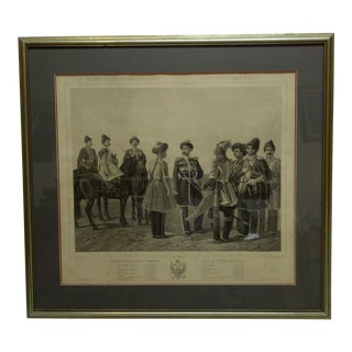 "1890s Vintage Russian ""Victor"" Framed and Double Matted Print by A. Ladurner For Sale"