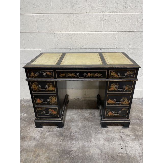 Chinoiserie Leather Too Writing Desk For Sale - Image 13 of 13