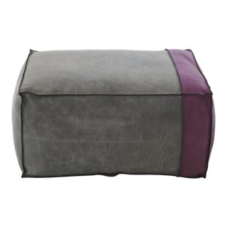 Moroccan Handmade Color-Blocked Gray & Purple Leather Pouf Ottoman For Sale