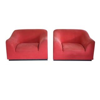 Late 20th Century Eric Jourdan for Ligne Roset Snowdonia Red Upholstered Armchairs - a Pair For Sale