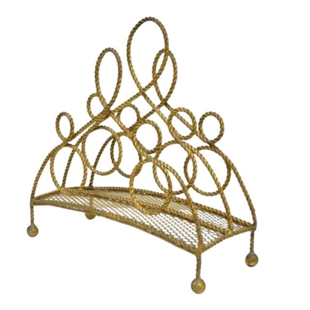 Vintage Italian Hollywood Regency Gold Gilt Iron Rope Tole Magazine Holder For Sale