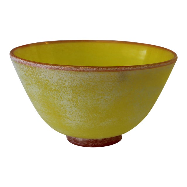 Vintage Frosted Murano Glass Bowl For Sale