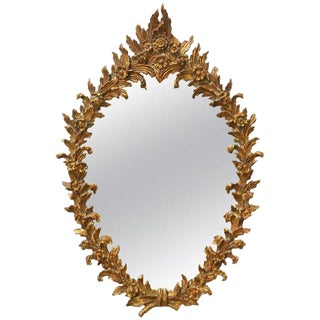 Italian Rococo Gilt Floral Wreath Oval Mirror For Sale
