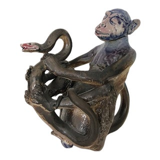 """The Serpent and the Ape"" Ceramic Teapot For Sale"