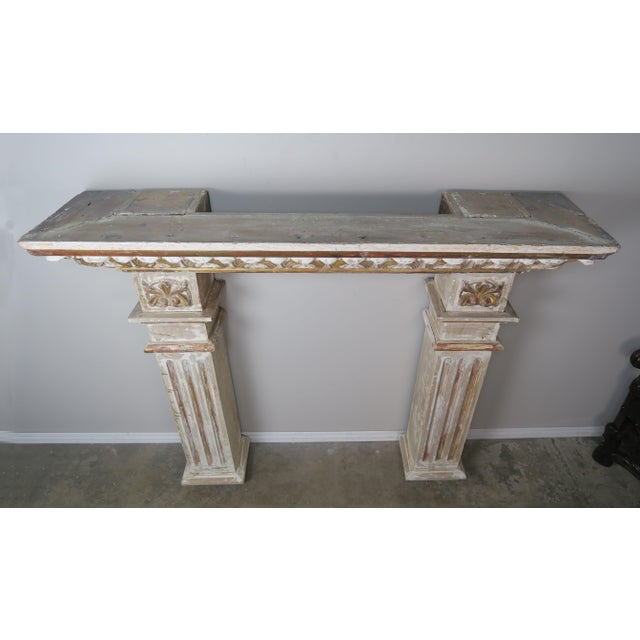 19th Century Italian Painted and Parcel Gilt Fireplace Mantel For Sale - Image 4 of 13