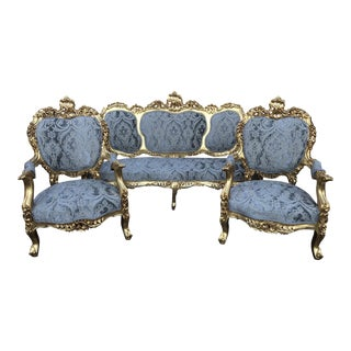 1940s Vintage Italian Baroque Blue Silk Upholstered Sofa Set- 3 Pieces For Sale