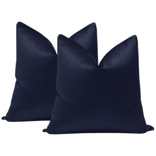 "22"" Navy Luxe Velvet Pillows - a Pair For Sale"
