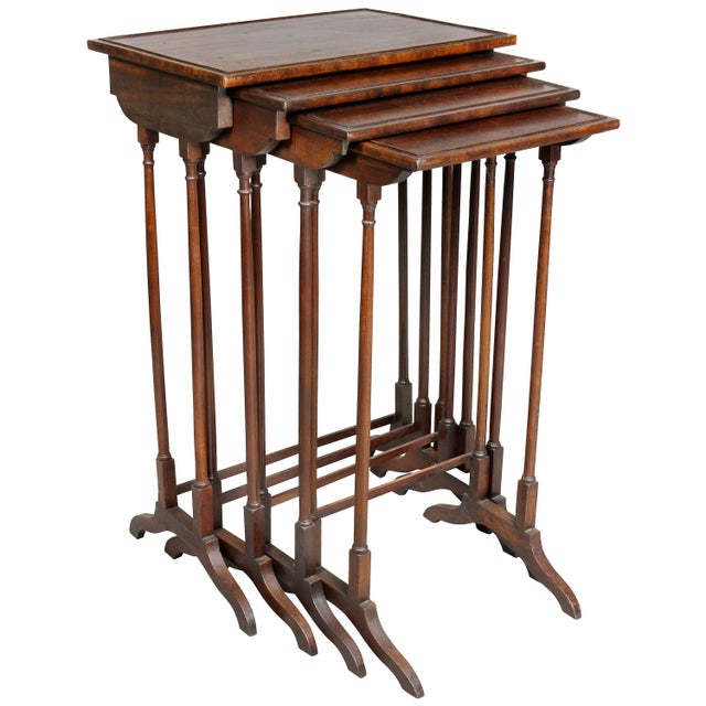 Regency Mahogany Quartetto Tables - Set of 4 For Sale - Image 12 of 12