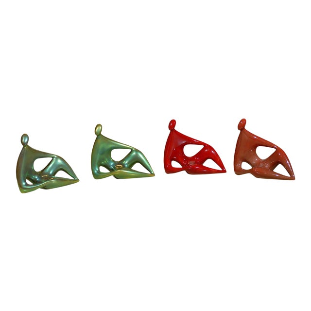Zsolnay Ceramic Red and Green Figures - Set of 4 For Sale