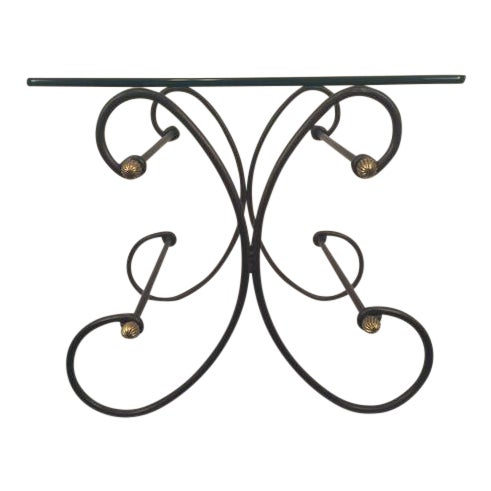 Wrought Iron and Beveled Glass Side Table For Sale