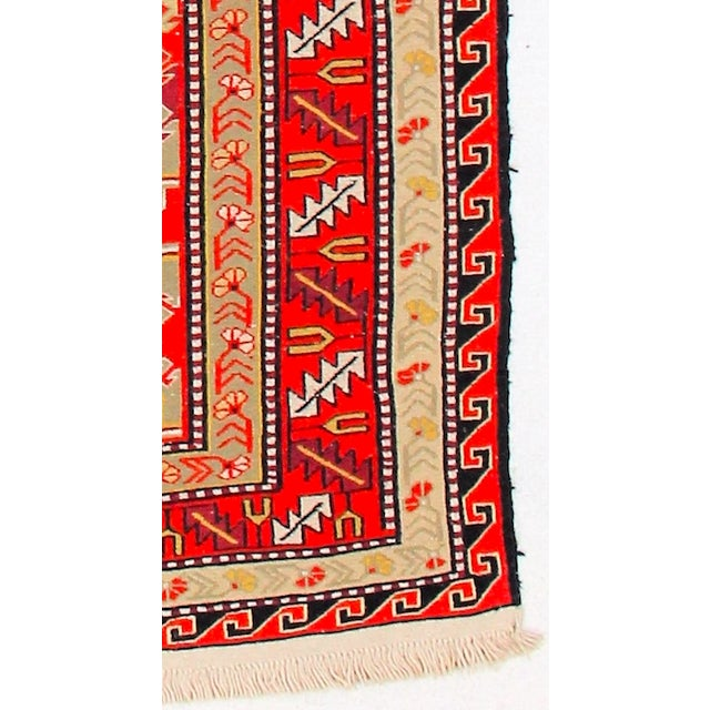 Red & Orange Afghan Sumak Kilim Rug - 5′3″ × 8′3″ For Sale In Los Angeles - Image 6 of 6