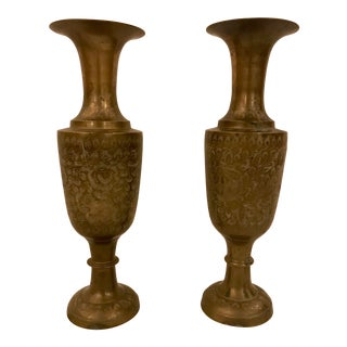 Pair of Engraved Brass Vases For Sale
