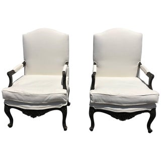French Louis XVI Style Bergere Armchairs - a Pair For Sale