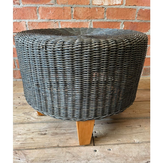1960s Woven Wicker Bamboo Ottoman For Sale - Image 4 of 7