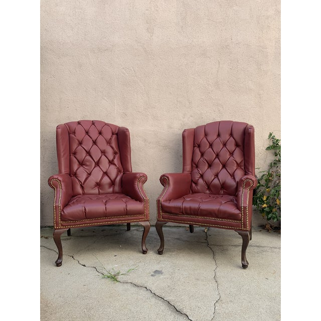 Mid Century Red Leather Winged Windsor Chairs A Pair