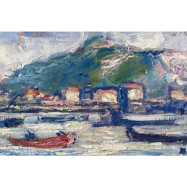 """Midcentury French Oil Painting on Canvas, """"Saint-Tropez, France"""" - 1962 For Sale In Washington DC - Image 6 of 13"""