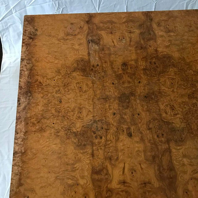 1970s Mid-Century Modern Burl Wood Square Coffee Table For Sale - Image 11 of 13