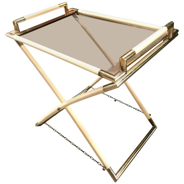 Vintage Brass and Glass Cocktail Table For Sale