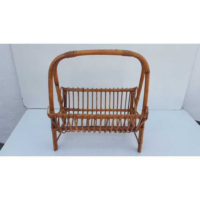 Italian Original Franco Albini Rattan and Bamboo Magazine Rack For Sale - Image 5 of 10