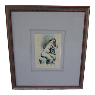 Expressionism Nude Girl Watercolor Signed Painting For Sale