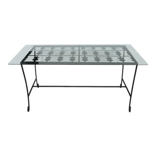 Stylized Deco Outdoor Iron and Glass Table For Sale