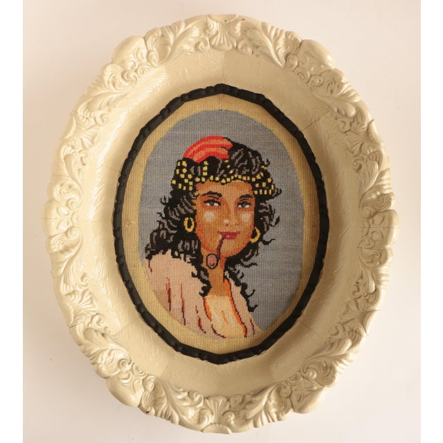 Boho Chic Bohemian Needlepoint Portraits - a Pair For Sale - Image 3 of 7