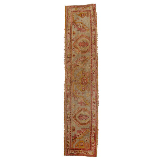 Yellow Late 19th Century Antique Wagireh Turkish Oushak Hallway Runner Rug - 2′ × 8′10″ For Sale - Image 8 of 8