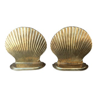Vintage Nautical Brass Clamshell Bookends - A Pair