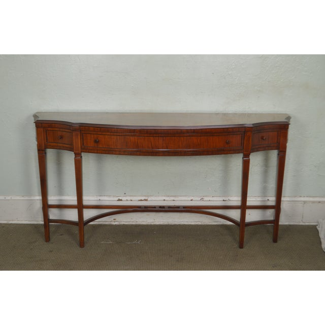1930s Regency Style 1930s Inlaid Satin Wood Console Sideboard For Sale - Image 5 of 13