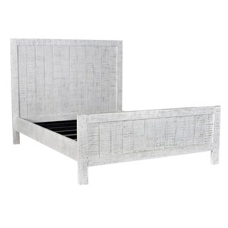 Salvaged White Panel Eastern King Bedframe For Sale