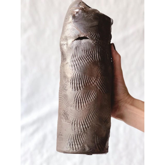 Abstract Tall Vintage Western Raku Imprint Abstract Vase For Sale - Image 3 of 9