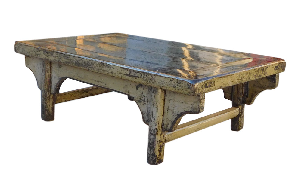 Chinese Gray Blue Rustic Lacquer Low Coffee Table