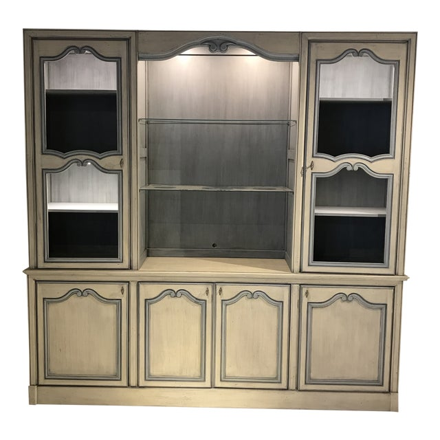 1980s French Curio China Display Cupboard Armoire For Sale