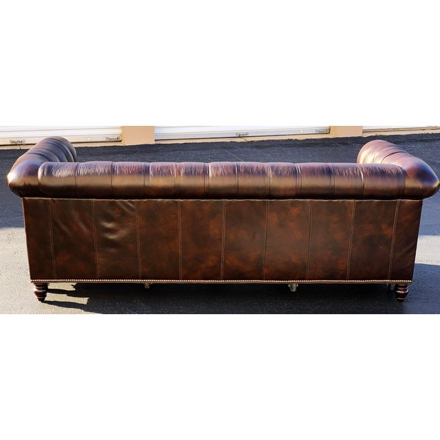English Tommy Bahama Manchester Leather Sofa For Sale - Image 3 of 13