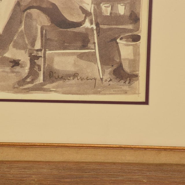 Brown Mid-Century Modern Watercolor Painting Signed Diego Rivera No Coa For Sale - Image 8 of 10