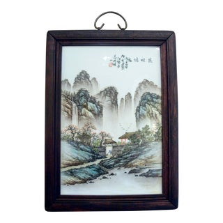 Early 20th Century Chinese Framed Porcelain Plaque of a Mountain Hermitage For Sale