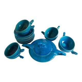 1920s Lachenal Egyptian Blue Ceramic Cups and Saucers - Set of 17 For Sale