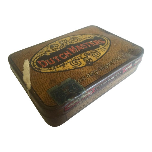 """Vintage Early 1900's """"Dutch Masters"""" Lithograph Cigar Tin Box For Sale"""