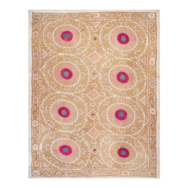 """Tribal Embroidery Wall Decor, Suzani Bedspread 8'2"""" X 11'6"""" For Sale"""