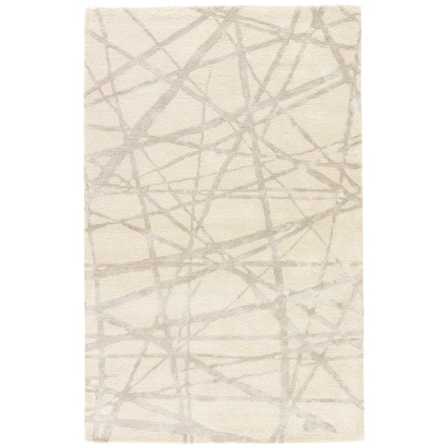 Nikki Chu by Jaipur Living Avondale Handmade Abstract White & Gray Area Rug - 9' X 12' For Sale