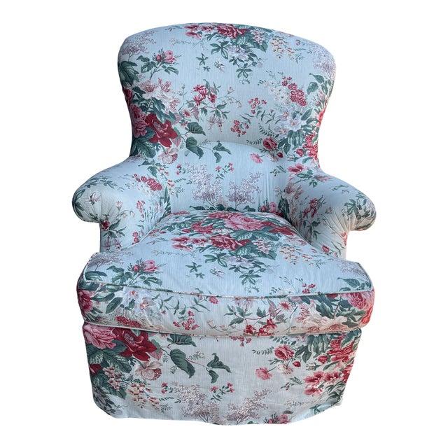 1980's Chintz Custom Fabric Arm Chair For Sale