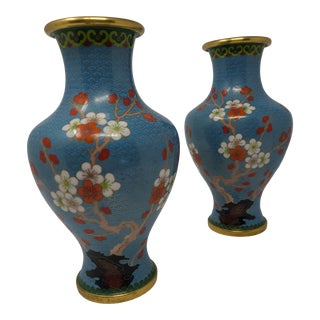 Vintage Cloissone Turquoise Vases With Cherry Blossoms - a Pair For Sale