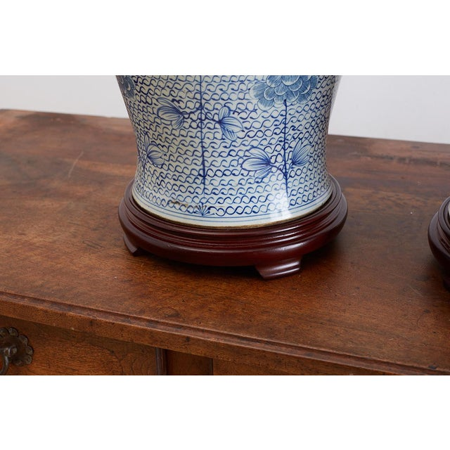 Chinese Porcelain Blue and White Ginger Jar Lamps For Sale - Image 12 of 12