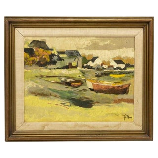 1950s Vintage Jos Rovers Fishing Boats Oil Painting For Sale