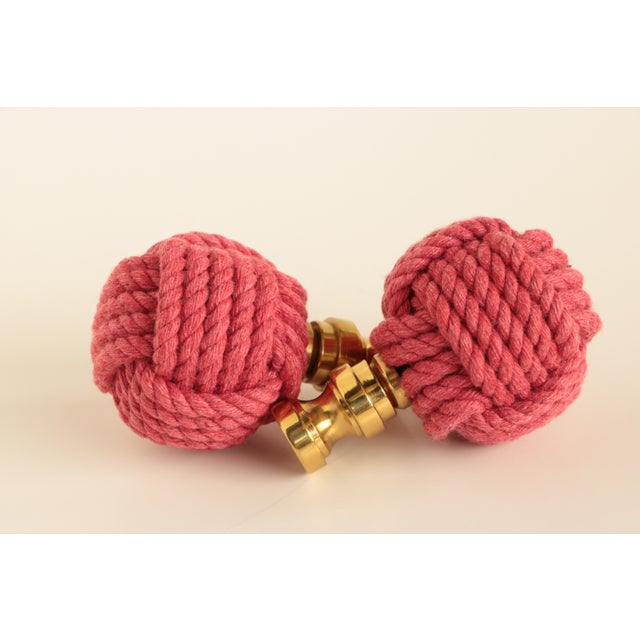 Nautical Knot Lamp Finials in Raspberry Red For Sale - Image 4 of 5